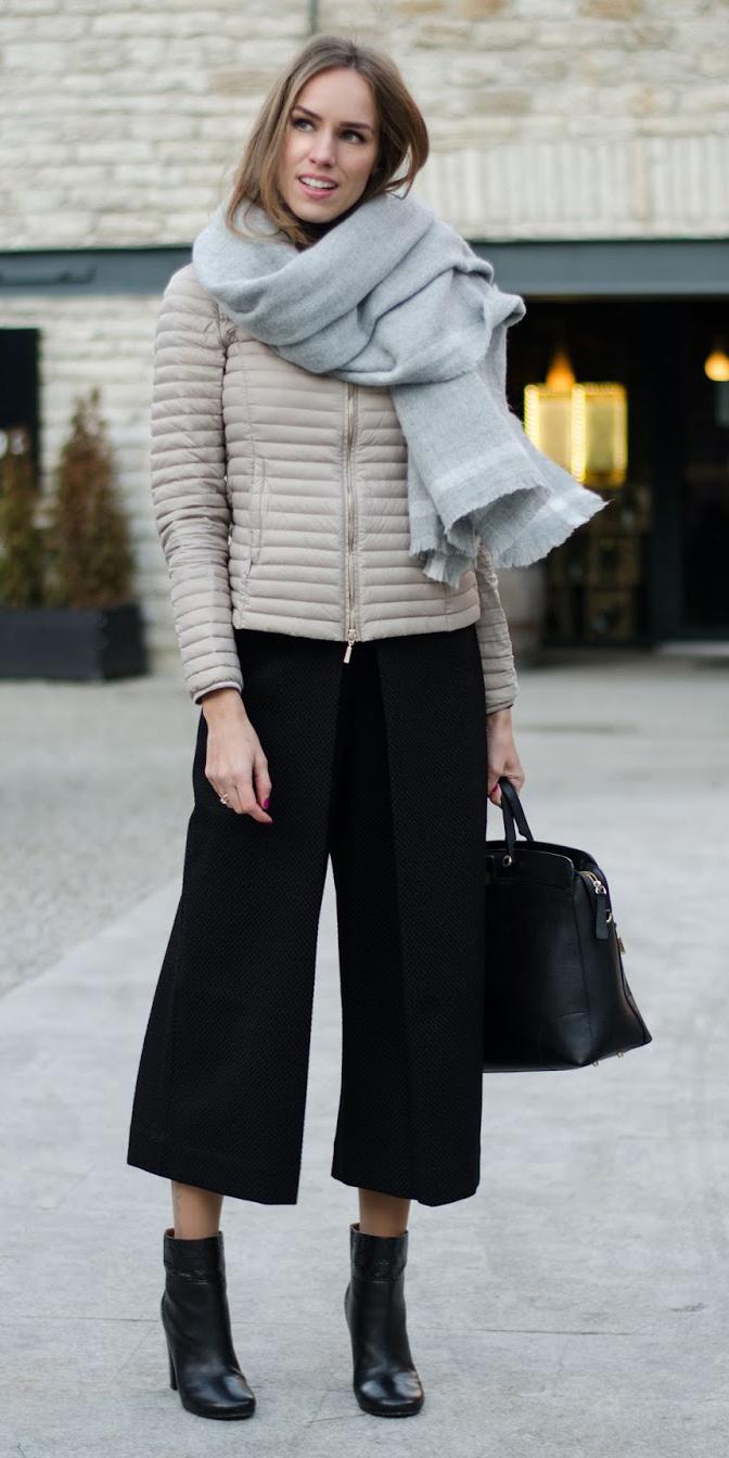 black-culottes-pants-tan-jacket-puffer-grayl-scarf-black-shoe-booties-black-bag-fall-winter-hairr-work.jpg
