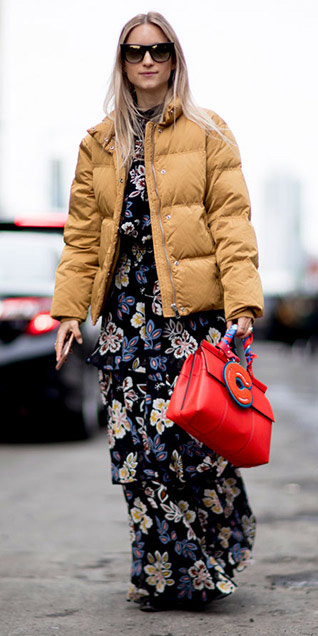 black-dress-maxi-floral-print-red-bag-yellow-jacket-coat-puffer-camel-jacket-fall-winter-blonde-lunch.jpg