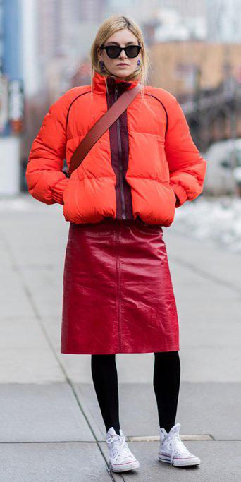 red-aline-skirt-leather-black-tights-white-shoe-sneakers-converse-orange-jacket-coat-puffer-fall-winter-blonde-weekend.jpg