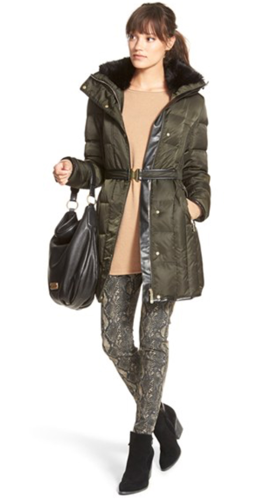 green-olive-leggings-print-tan-sweater-pony-snakeskin-fall-black-shoe-booties-puffer-green-olive-jacket-coat-parka-brun-lunch.jpg