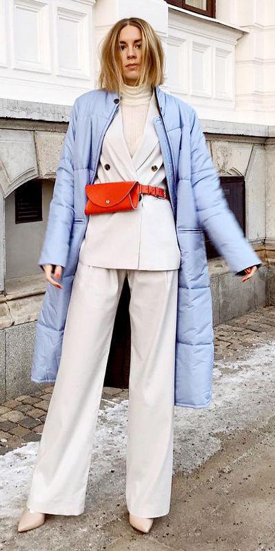 white-wideleg-pants-white-tee-turtleneck-red-bag-fannypack-suit-white-jacket-blazer-layer-blonde-white-shoe-pumps-blue-light-jacket-coat-puffer-fall-winter-lunch.jpg