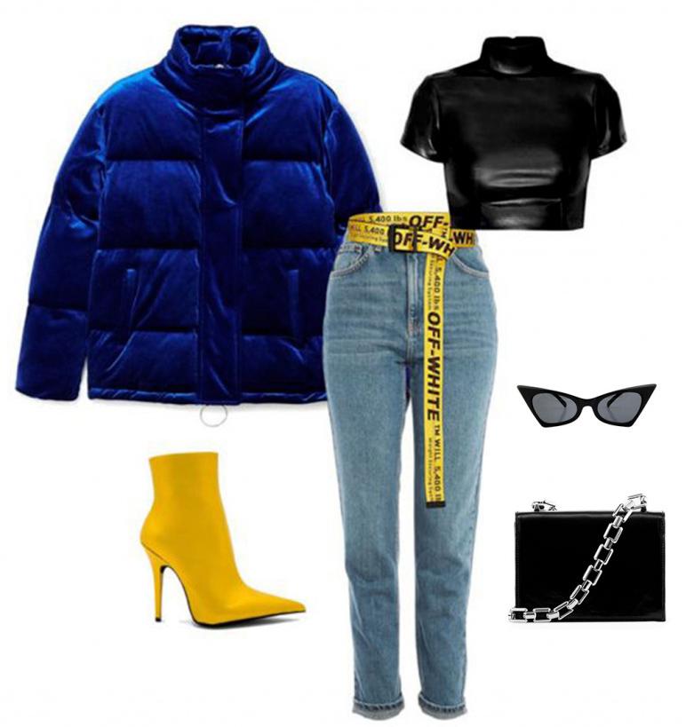 blue-light-skinny-jeans-belt-yellow-shoe-booties-sun-black-bag-black-crop-top-blue-navy-jacket-coat-puffer-fall-winter-dinner.jpg