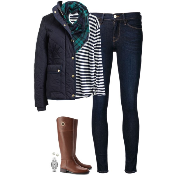 blue-navy-skinny-jeans-blue-navy-tee-stripe-green-emerald-scarf-plaid-blue-navy-jacket-puffer-brown-shoe-boots-watch-fall-winter-weekend.jpg