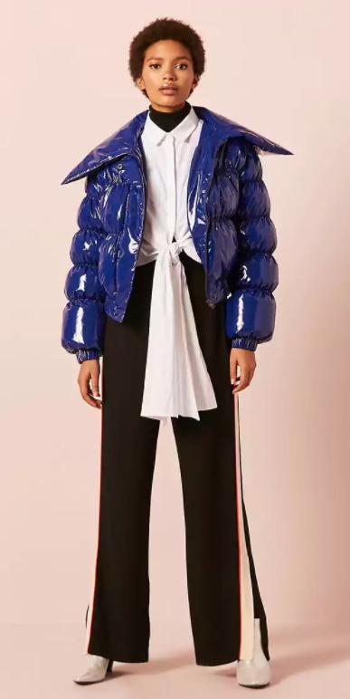 black-wideleg-pants-white-collared-shirt-shiny-white-shoe-booties-layer-blue-navy-jacket-coat-puffer-fall-winter-brun-lunch.jpg