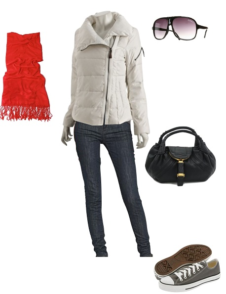 blue-navy-skinny-jeans-white-jacket-puffer-sun-gray-shoe-sneakers-black-bag-red-scarf-charlizetheron-howtowear-fashion-style-outfit-fall-winter-weekend.jpg