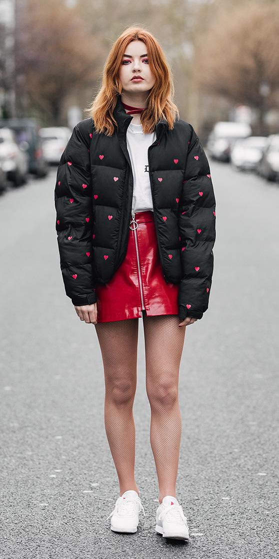 red-mini-skirt-patent-leather-choker-tan-tights-fishnet-white-shoe-sneakers-black-jacket-coat-puffer-fall-winter-hairr-lunch.jpg