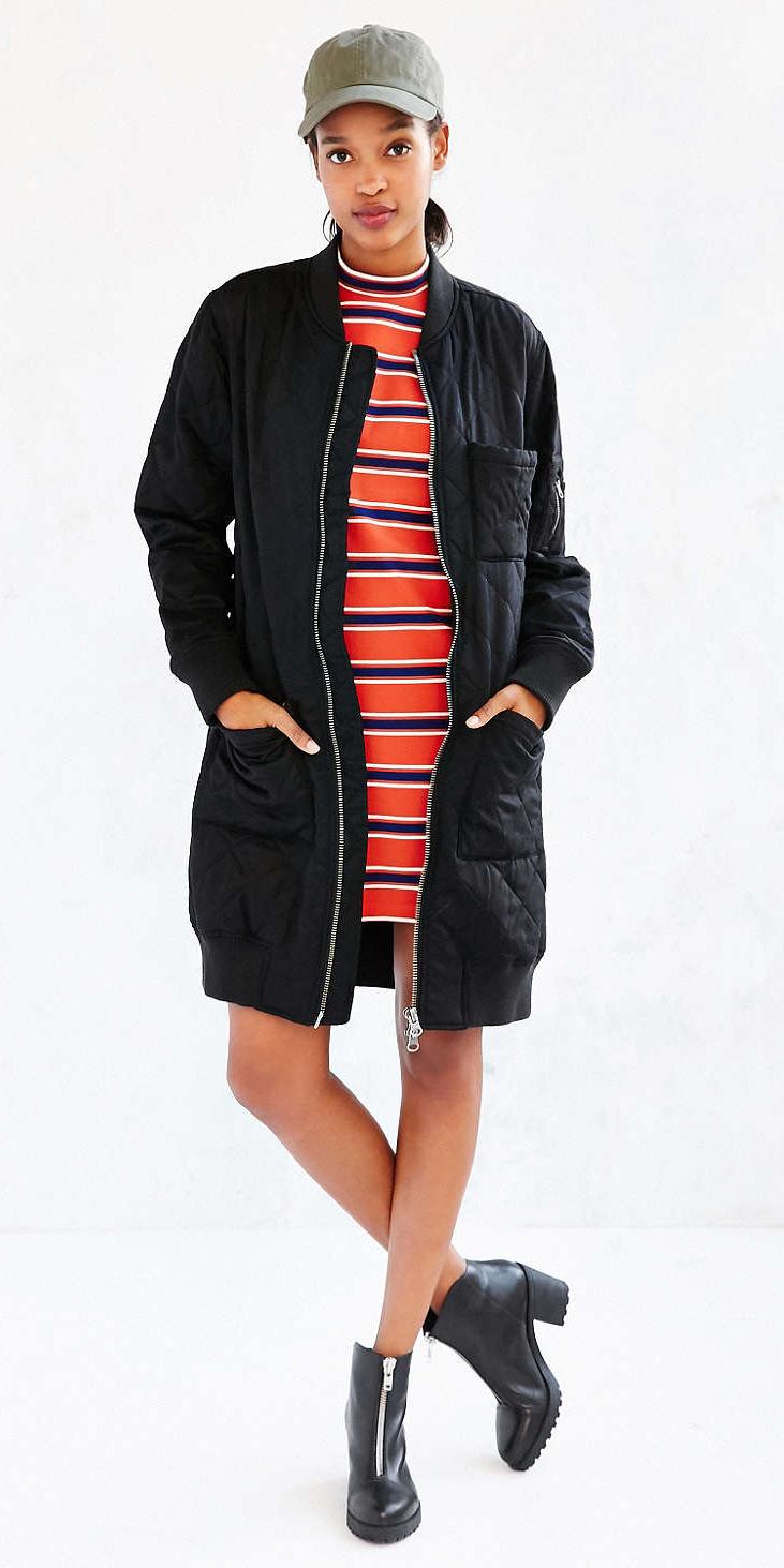 red-dress-tshirt-stripe-hat-cap-black-shoe-booties-black-jacket-coat-puffer-fall-winter-weekend.jpg