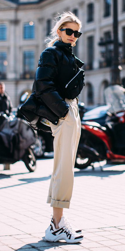 tan-chino-pants-black-jacket-puffer-blonde-pony-sun-white-shoe-sneakers-dad-chunky-fall-winter-weekend.jpg