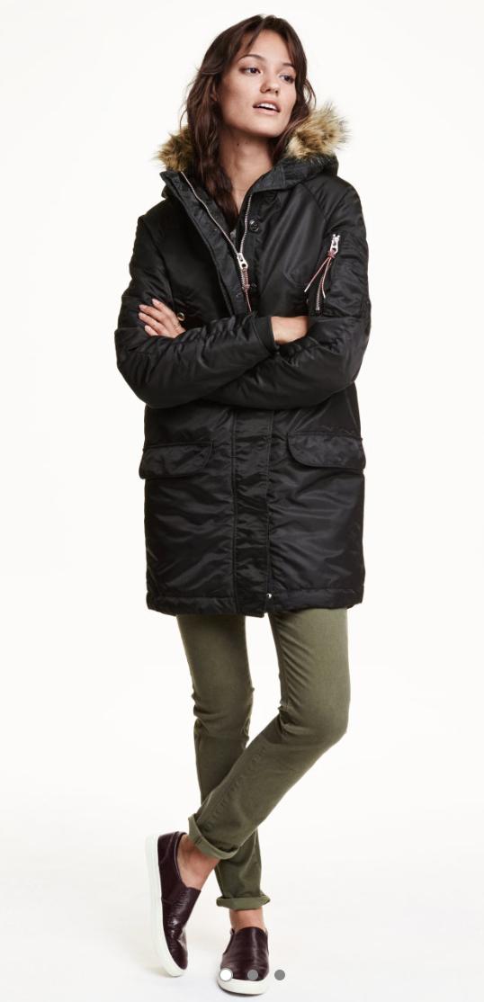 green-olive-skinny-jeans-black-jacket-coat-puffer-parka-howtowear-style-fashion-fall-winter-brown-shoe-sneakers-brun-weekend.jpg