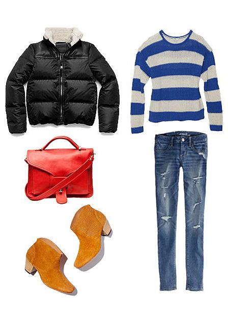 blue-med-skinny-jeans-blue-med-sweater-stripe-bold-cognac-shoe-booties-red-bag-black-jacket-coat-puffer-fall-winter-weekend.jpg