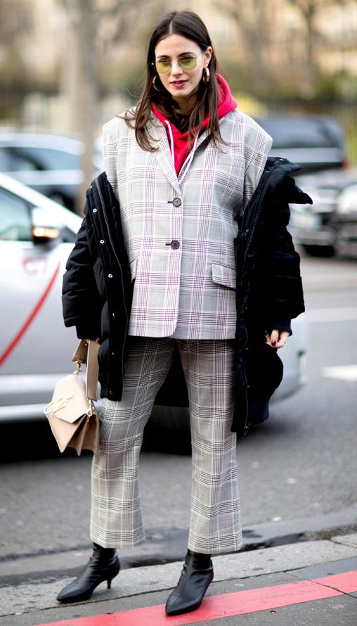 grayl-culottes-pants-plaid-suit-red-sweater-sweatshirt-hoodie-hairr-hoops-black-jacket-coat-puffer-black-shoe-booties-tan-bag-fall-winter-lunch.jpg