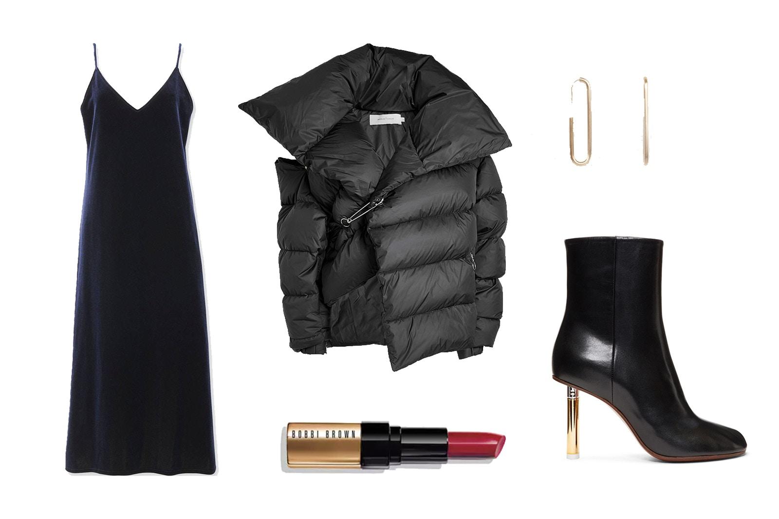 black-dress-slip-black-shoe-booties-earrings-black-jacket-coat-puffer-fall-winter-dinner.jpg