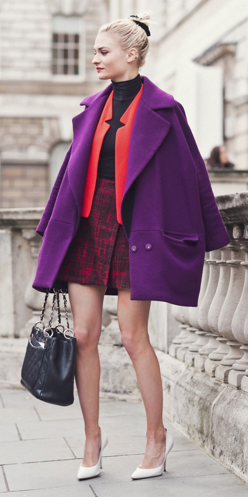 red-mini-skirt-tweed-black-tee-turtleneck-red-jacket-blazer-purple-royal-jacket-coat-layer-black-bag-white-shoe-pumps-blonde-bun-scrunchie-fall-winter-lunch.jpg