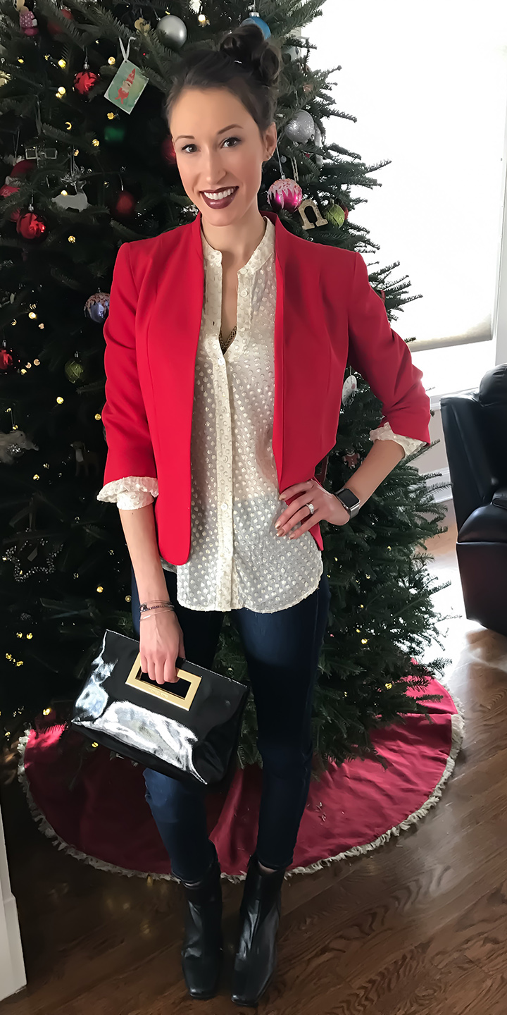 blue-navy-skinny-jeans-white-blouse-red-jacket-blazer-hairr-black-shoe-booties-watch-fall-winter-holiday-christmas-outfits-lunch.jpg