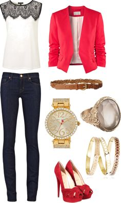blue-navy-skinny-jeans-white-top-red-jacket-blazer-ring-howtowear-fashion-style-outfit-fall-winter-peeptoe-red-shoe-pumps-lace-belt-watch-work.jpg