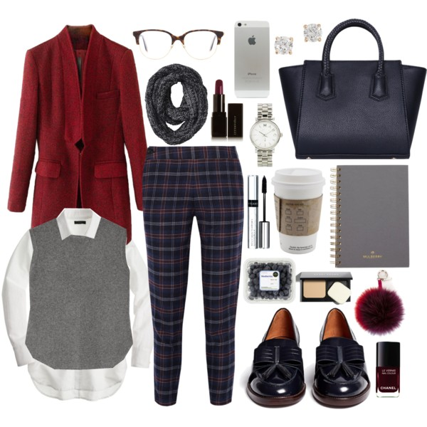 blue-navy-slim-pants-white-collared-shirt-grayl-vest-sweater-red-jacket-blazer-howtowear-fashion-style-outfit-fall-winter-plaid-black-shoe-loafers-grayd-scarf-layer-nail-watch-studs-work.jpg