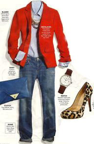 blue-med-skinny-jeans-blue-light-collared-shirt-red-jacket-blazer-tan-shoe-pumps-blue-bag-clutch-howtowear-fashion-style-outfit-fall-winter-chambray-leopard-necklace-watch-lunch.jpg