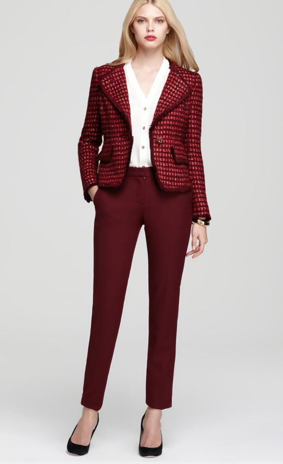 r-burgundy-slim-pants-white-top-blouse-r-burgundy-jacket-blazer-howtowear-tweed-fall-winter-blonde-work.jpg