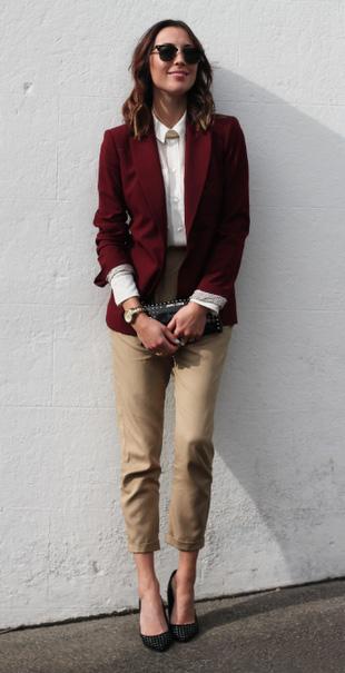 tan-chino-pants-white-collared-shirt-burgundy-jacket-blazer-sun-black-shoe-pumps-fall-winter-hairr-work.jpg