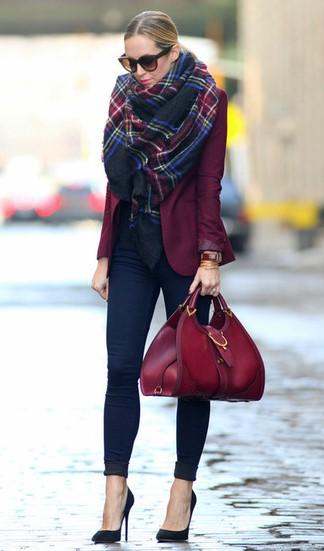 blue-navy-skinny-jeans-blue-navy-scarf-plaid-print-blonde-sun-burgundy-bag-burgundy-jacket-blazer-fall-winter-lunch.jpg
