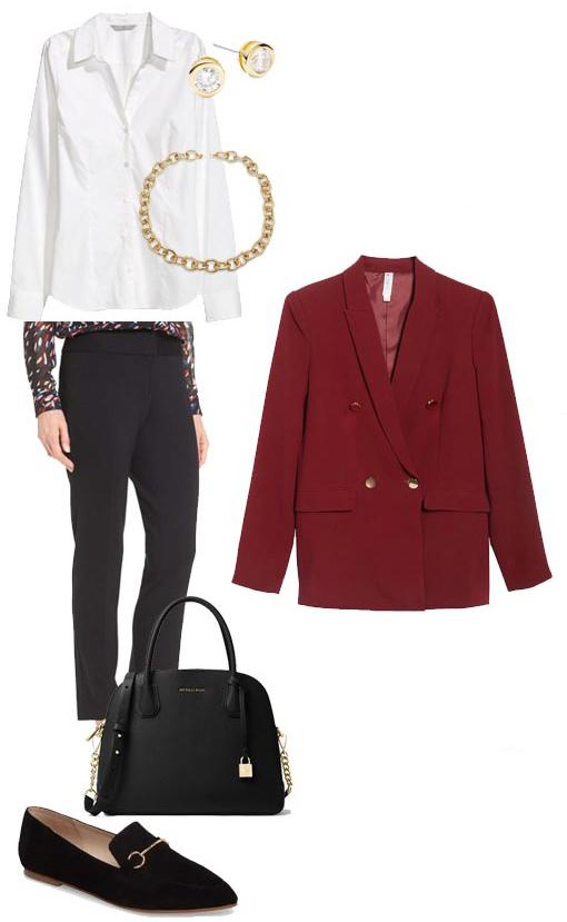 black-slim-pants-white-collared-shirt-chain-necklace-studs-black-shoe-loafers-black-bag-burgundy-jacket-blazer-boyfriend-fall-winter-blonde-work.jpg