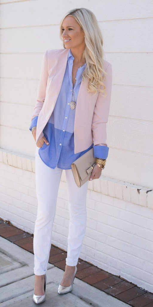 white-skinny-jeans-gray-shoe-pumps-silver-pink-light-jacket-blazer-blue-light-collared-shirt-blonde-watch-necklace-pend-spring-summer-lunch.jpg