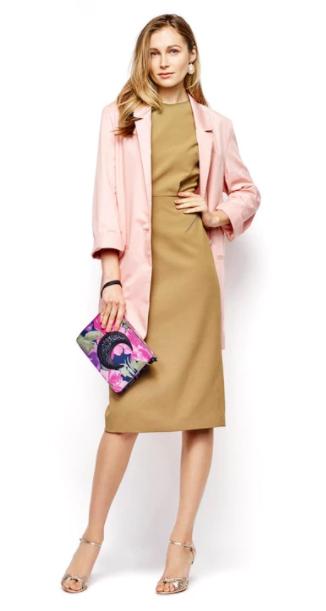 tan-dress-shift-pink-bag-clutch-earrings-tan-shoe-sandalh-gold-pink-light-jacket-blazer-boyfriend-spring-summer-blonde-dinner.jpg