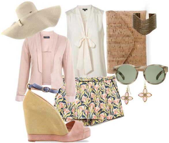 yellow-shorts-white-top-blouse-bow-print-tan-bag-clutch-sun-earrings-pink-light-jacket-blazer-hat-pink-shoe-sandalw-howtowear-fashion-style-outfit-spring-summer-lunch.jpg
