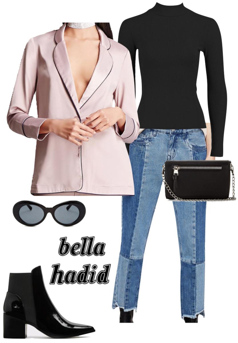 blue-med-skinny-jeans-bellahadid-black-tee-sun-black-bag-black-shoe-booties-pink-light-jacket-blazer-fall-winter-lunch.jpg