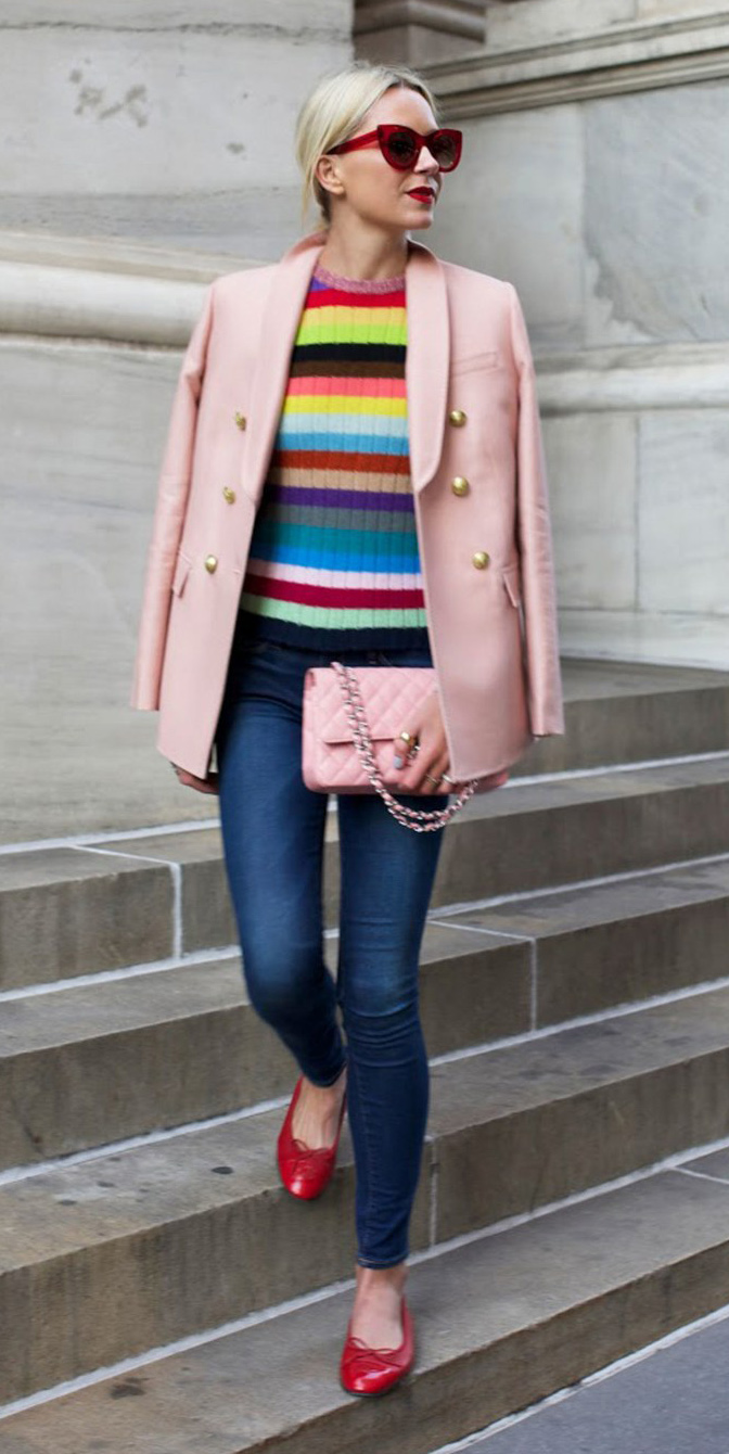 blue-navy-skinny-jeans-yellow-sweater-stripe-pink-light-jacket-blazer-pink-bag-red-shoe-flats-sun-pony-howtowear-fashion-style-outfit-spring-summer-blonde-lunch.jpg