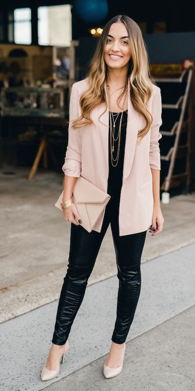 black-leggings-necklace-tan-shoe-pumps-tan-bag-clutch-pink-light-jacket-blazer-boyfriend-fall-winter-hairr-dinner.jpg