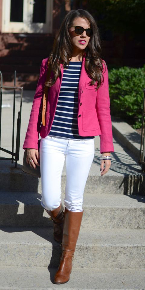 white-skinny-jeans-blue-navy-tee-stripe-pink-magenta-jacket-blazer-hairr-cognac-shoe-boots-fall-winter-weekend.jpg