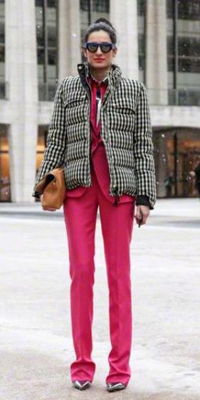 pink-magenta-wideleg-pants-pink-magenta-jacket-blazer-suit-layer-bun-sun-print-black-jacket-coat-puffer-fall-winter-lunch.jpg