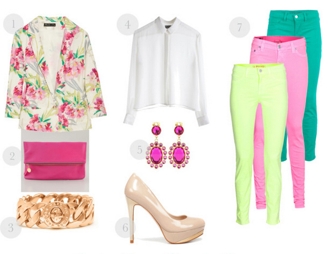 yellow-skinny-jeans-white-top-blouse-earrings-tan-shoe-pumps-pink-bag-clutch-pink-magenta-jacket-blazer-floral-neon-howtowear-fashion-style-outfit-spring-summer-lunch.jpg