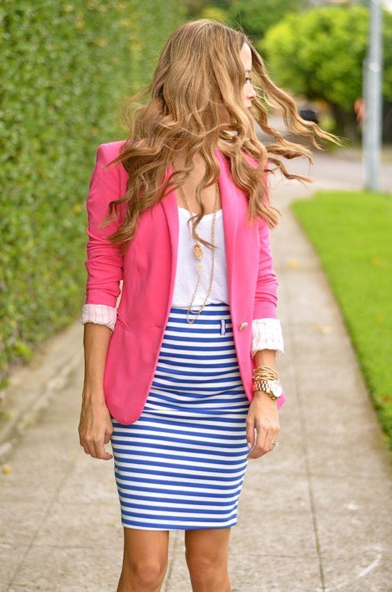 blue-med-pencil-skirt-white-tee-pink-magenta-jacket-blazer-stripe-print-necklace-watch-howtowear-fashion-style-outfit-spring-summer-hairr-work.jpg