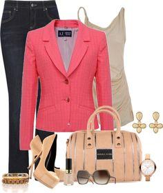 blue-navy-flare-jeans-tan-cami-pink-magenta-jacket-blazer-tan-shoe-pumps-fashion-style-outfit-spring-summer-earrings-watch-bracelet-tan-bag-sun-work.jpg