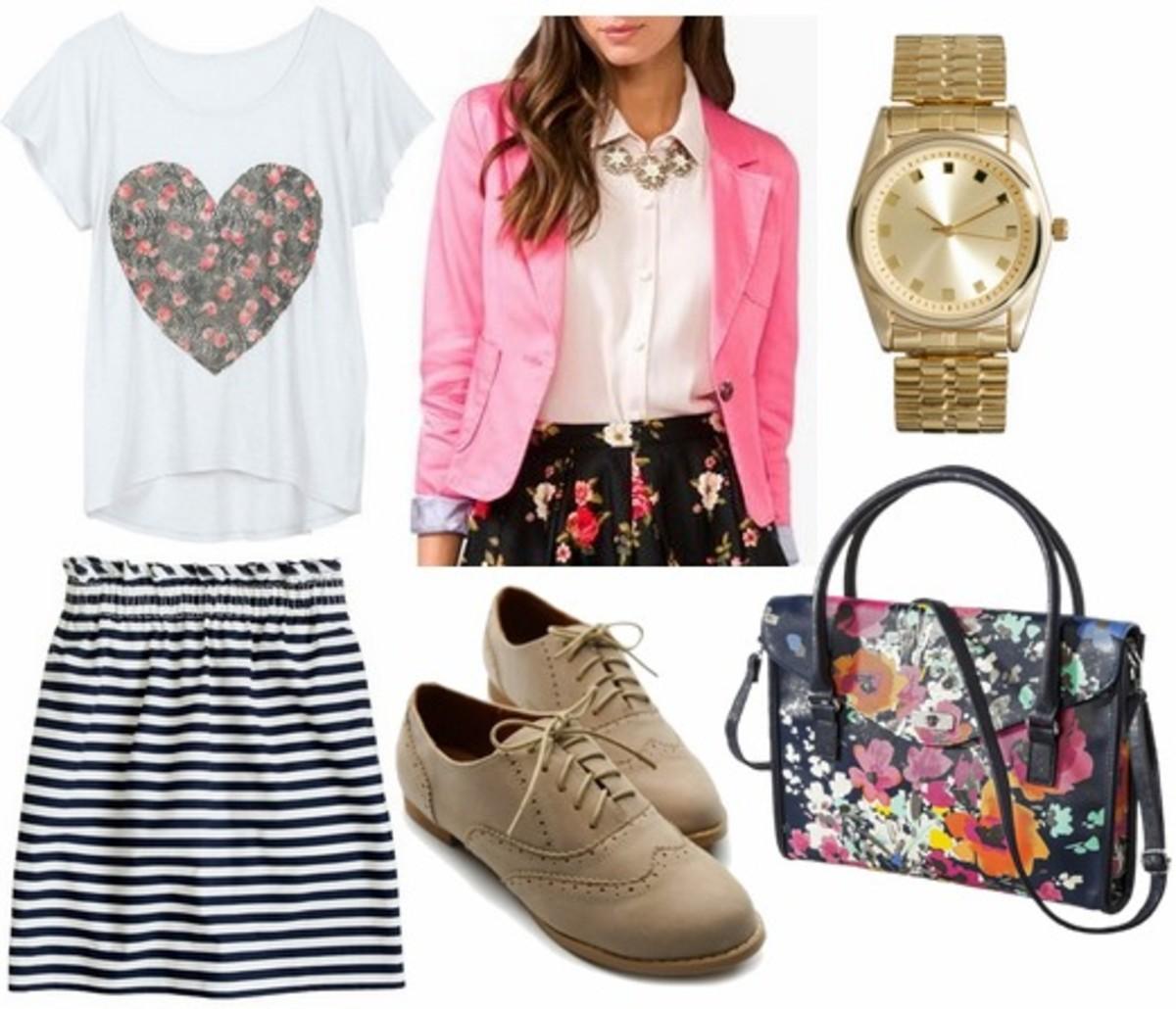 black-mini-skirt-stripe-white-graphic-tee-tan-shoe-brogues-floral-print-watch-pink-magenta-jacket-blazer-spring-summer-lunch.jpg