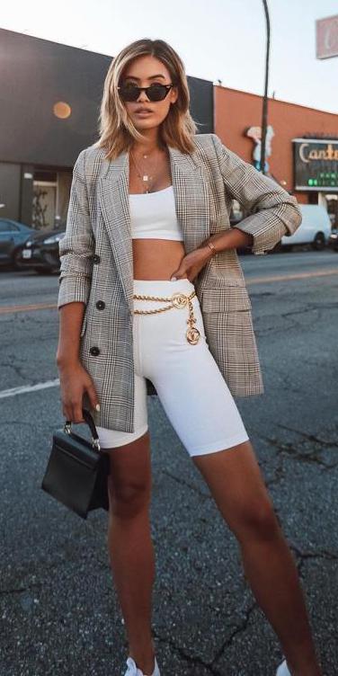 white-shorts-cycling-bike-white-bralette-black-bag-tan-jacket-blazer-plaid-belt-necklace-blonde-lob-sun-spring-summer-lunch.jpg