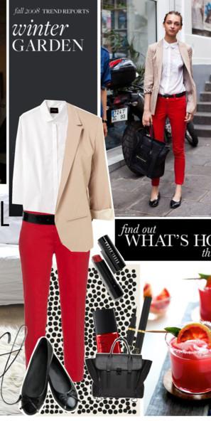 red-slim-pants-white-top-blouse-tan-jacket-blazer-black-shoe-flats-belt-nail-black-bag-howtowear-fashion-style-outfit-spring-summer-hairr-work.jpg