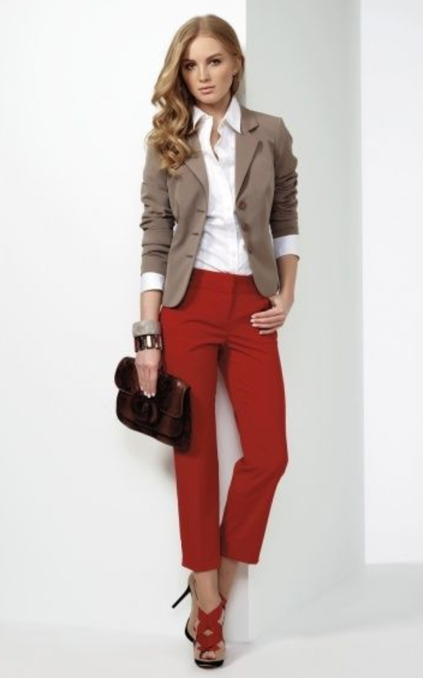 red-slim-pants-white-collared-shirt-tan-jacket-blazer-brown-bag-clutch-bracelet-howtowear-red-shoe-sandalh-fall-winter-blonde-work.jpg