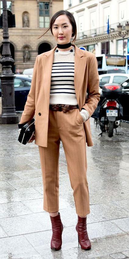 tan-slim-pants-white-sweater-stripe-black-scarf-neck-brun-tan-jacket-blazer-suit-belt-brown-shoe-booties-fall-winter-lunch.jpg