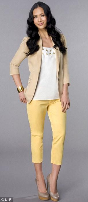 yellow-slim-pants-white-top-tan-jacket-blazer-bracelet-tan-shoe-pumps-howtowear-fashion-style-outfit-spring-summer-brun-lunch.jpg