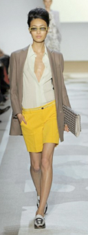 yellow-shorts-white-top-blouse-tan-jacket-blazer-bun-white-shoe-loafers-howtowear-fashion-style-outfit-spring-summer-brun-lunch.jpg