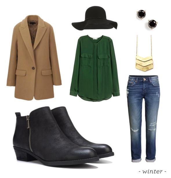 blue-med-skinny-jeans-green-dark-top-blouse-necklace-pend-studs-hat-tan-jacket-blazer-black-shoe-booties-fall-winter-weekend.jpg