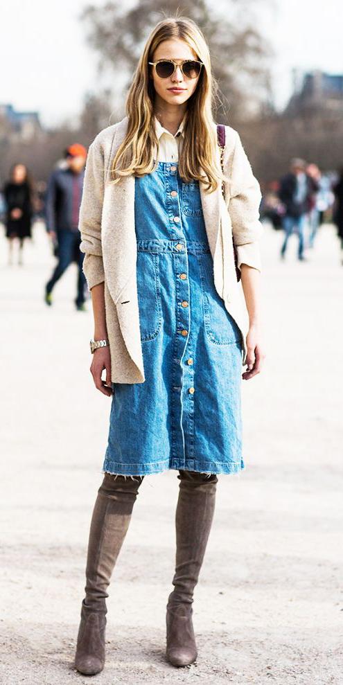 blue-med-dress-denim-button-jumper-tan-jacket-blazer-sun-gray-shoe-boots-fall-winter-blonde-lunch.jpg