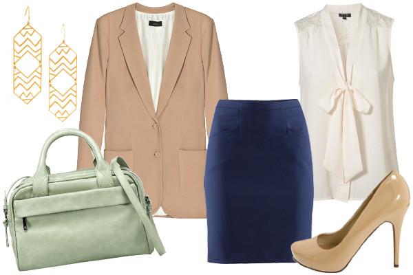 blue-navy-pencil-skirt-white-top-blouse-bow-tan-shoe-pumps-tan-jacket-blazer-green-bag-earrings-fall-winter-work.jpg