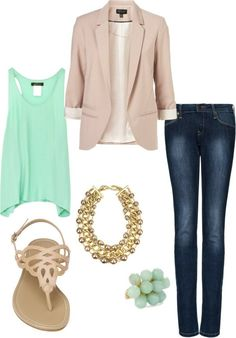 blue-navy-skinny-jeans-green-light-cami-tan-jacket-blazer-necklace-ring-tan-shoe-sandals-howtowear-fashion-style-outfit-spring-summer-lunch.jpg