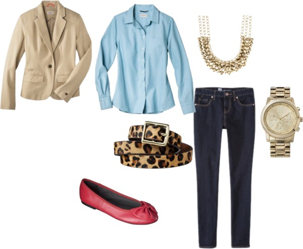 blue-navy-skinny-jeans-blue-light-collared-shirt-tan-jacket-blazer-style-outfit-spring-summer-leopard-belt-chambray-necklace-red-shoe-flats-watch-work.jpg