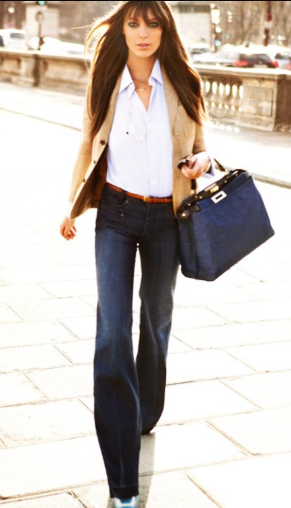 blue-navy-flare-jeans-white-collared-shirt-tan-jacket-blazer-black-bag-belt-wear-fashion-style-fall-winter-brun-work.jpg