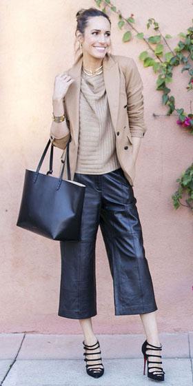 black-culottes-pants-tan-sweater-tan-jacket-blazer-black-bag-tote-bun-black-shoe-pumps-fall-winter-hairr-work.jpg